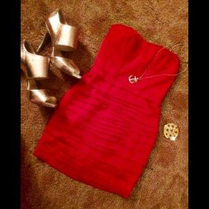 ❤️EXPRESS size 0 Hot Little Red Dress Strapless